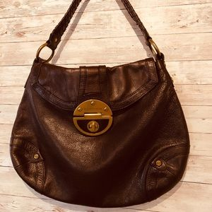 Brown leather turn lock Braided Handel purse